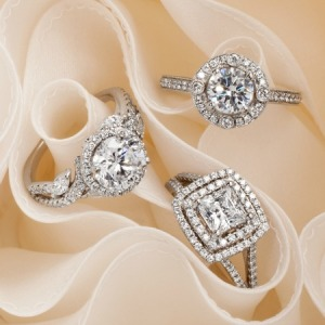 Group shot of rings from the Collection by Monique Lhuillier.