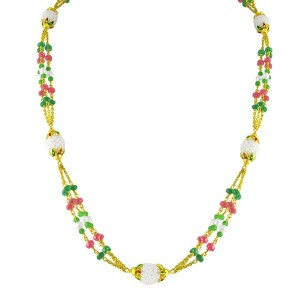 Ruby, emerald and pearl gold chain