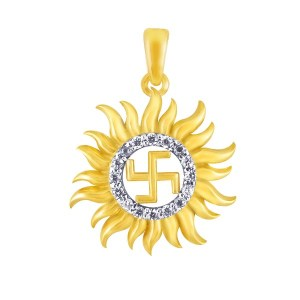 Swastika diamond gold pendant