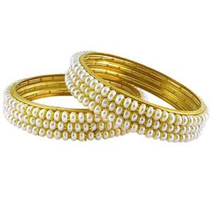 3 line white pearl bangles