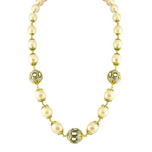 Jpearls South Sea Pearl Gold Chain With Victoriean Balls