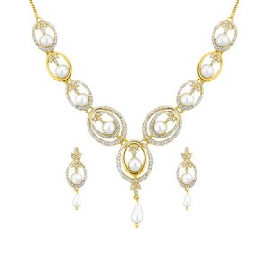 j Pearls fancy gold cz pearl necklace set