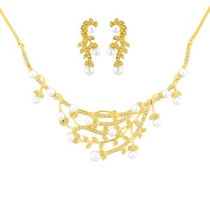 J pearls fancy pearl cz gold necklace set