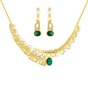J Pearls gold cz pearl necklace set