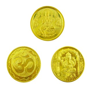 Gold coins Lakshmi and Ganesha