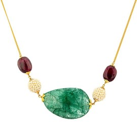 Gold chain with rubies and emeralds