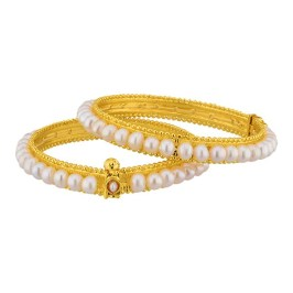 Pearl Bangles with CZ stones and gold