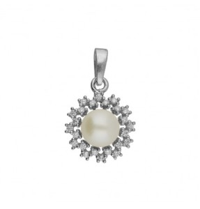 silver sizzling white pearl pendant