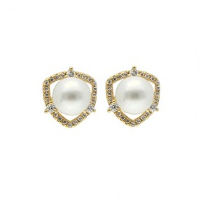 Sweet Cz Pearl Earrings